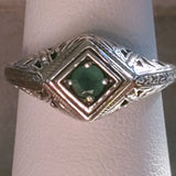 Genuine Emerald 925 Sterling Silver Antique Art Deco Style Ring #30147