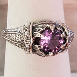 Color Changing Alexandrite Antique Style .925 Sterling Silver Ring, #30132