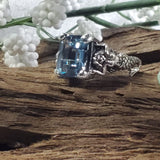 Sterling Silver Antique Victorian Style Spinel In Aquamarine Color Mermaid Ring #30604