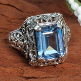 Filigree Style Synthetic Spinel Approx. 4 Ct.Aquamarine Color Sterling Silver Ring #30343
