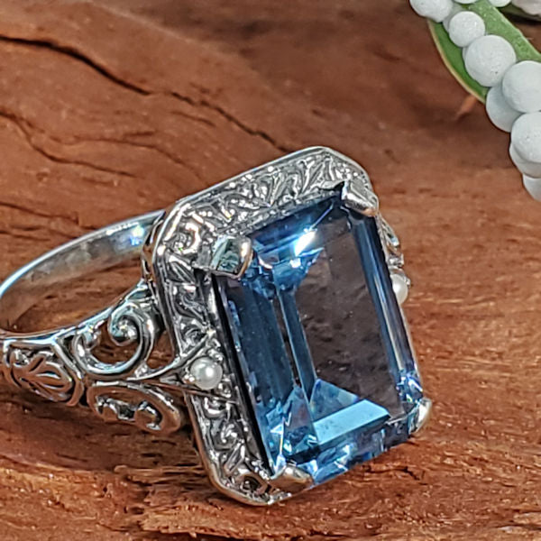 Sterling Silver Victorian Style 4 Ct. Syn. Spinel In Aquamarine Color & Pearl Ring #30477