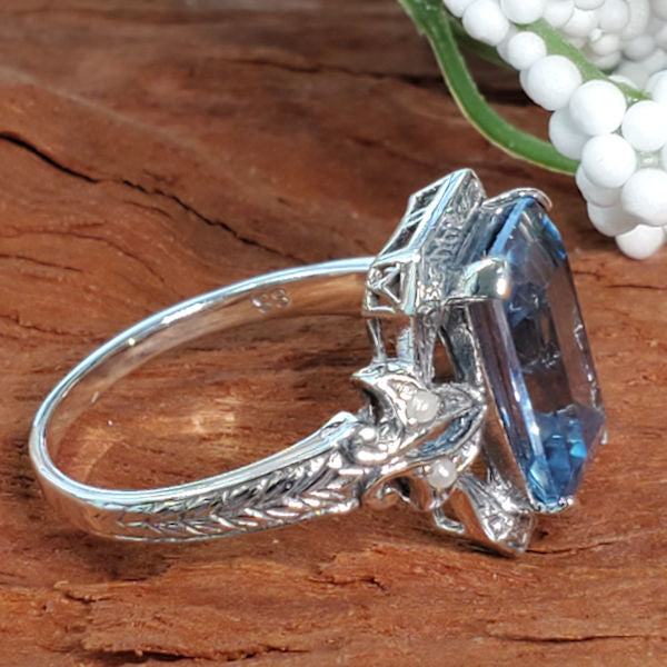 Sterling Silver Victorian Style 4 Carat Synthetic Spinel In Aquamarine Color &  Pearl Ring #30494