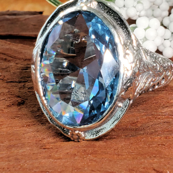 Approx. 18 CT Aquamarine  Synthetic Spinel Victorian Style Sterling Silver Ring #30270