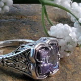 Sterling Silver Antique Victorian Style 1.7 Carat Genuine Brazilian Amethyst Ring #30780