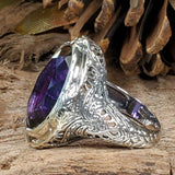 925 Sterling Silver Antique Victorian Style 13 Carat Amethyst Filigree Ring #30578