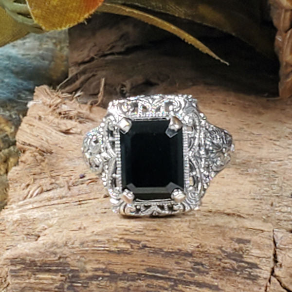 925 Sterling Silver Antique Style Genuine Black Agate Filigree Ring #30584