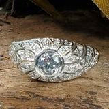 925 Sterling Silver Antique Art Deco Style Cubic Zirconia Wedding/Engagement Ring #30620