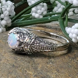 925 Sterling Silver Antique Victorian Style Opal Filigree Ring #30643