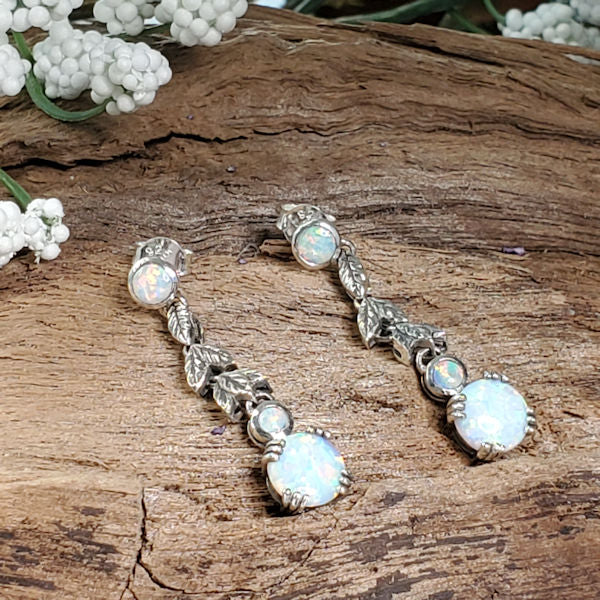 925 Sterling Silver Antique Style Opal Earrings #30665