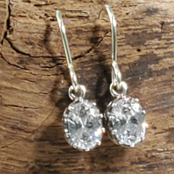 925 Sterling Silver Antique Style Cubic Zirconia Earrings #30596