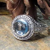 Genuine Nearly 5 Carat Cabochon Cut Sky Blue Topaz Sterling Silver Ring #30313