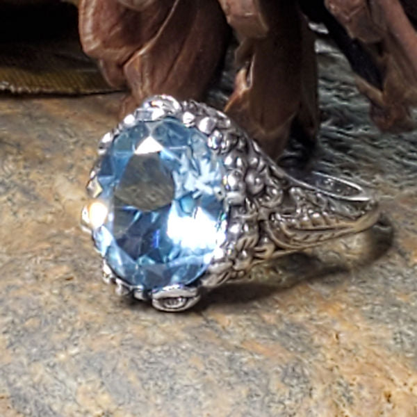 Genuine Nearly 6 Carat Sky Blue Topaz Antique Art Nouveau Style 925 Sterling Silver Ring #30328