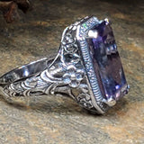 925 Sterling Silver Antique Style Color Changing Sim. 8 Carat Alexandrite Filigree Ring #30001