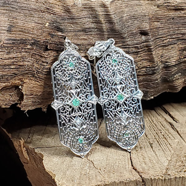 Antique Edwardian Style Genuine Emerald & Seed Pearl Sterling Silver Earrings #30024