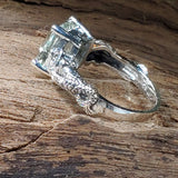 925 Sterling Silver Genuine Lime Citrine Antique Victorian Style Mermaid Ring #30934