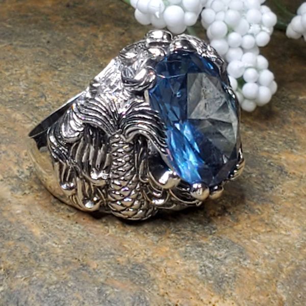 Sterling Silver Antique Style Synthetic Spinel In Aquamarine Color Mermaid Ring #30912