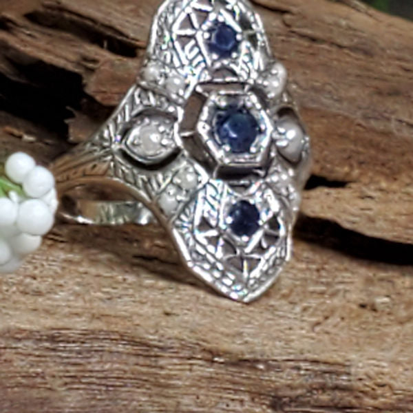 Genuine Sapphire Antique Style .925 Sterling Silver Filigree Ring #30220