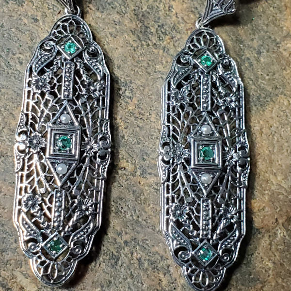 Antique Edwardian Style Genuine Emerald & Pearl .925 Sterling Silver Earrings #30029