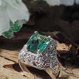 Sterling Silver Art Deco Style 3 Carat Emerald Green Quartz Filigree Ring #30528