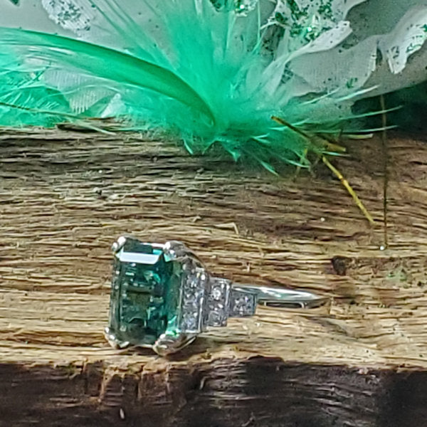 925 Sterling Silver Antique Style Emerald Green Quartz & Cz Filigree Ring #30730