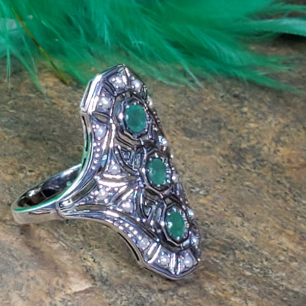 Sterling Silver Antique Art Deco Style Genuine Emerald & Freshwater Pearl Ring #30753
