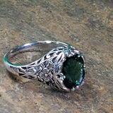 925 Sterling Silver Antique Style 1.6 Carat Emerald Green Quartz Filigree Ring #30717