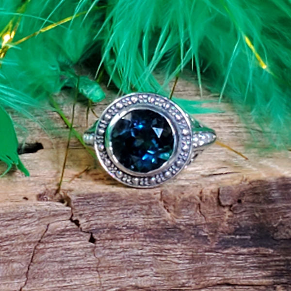 Antique Victorian Style Nearly 3 Carat London Blue Topaz Pearl  Sterling Silver Ring #30289