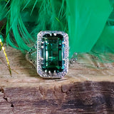 Emerald Green Quartz Ring, Sterling Silver #30393