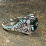 Sterling Silver Antique Style 1.70 Carat Emerald Green Quartz Filigree Ring #30704