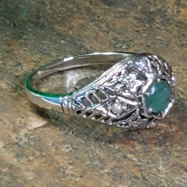 Sterling Silver Antique Victorian Style Genuine Emerald & Freshwater Pearl Ring #30454