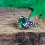 Sterling Silver Antique Style 3.5 Ct Emerald Green Quartz Filigree Ring #30540