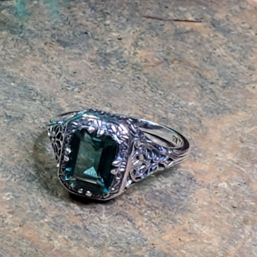 925 Sterling Silver Antique Victorian Style  Emerald Green Quartz Filigree Ring #30785