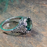 925 Sterling Silver Antique Filigree Style 3.5 Carat Emerald Green Quartz Ring #30445