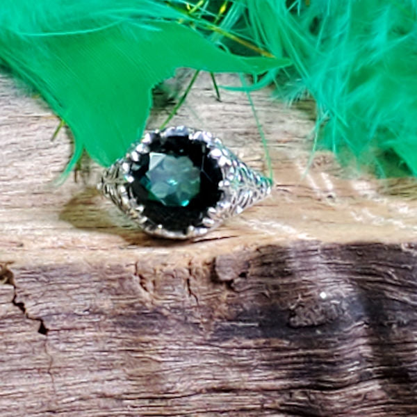 925 Sterling Silver Antique Style Emerald Green Quartz Filigree Ring #30779