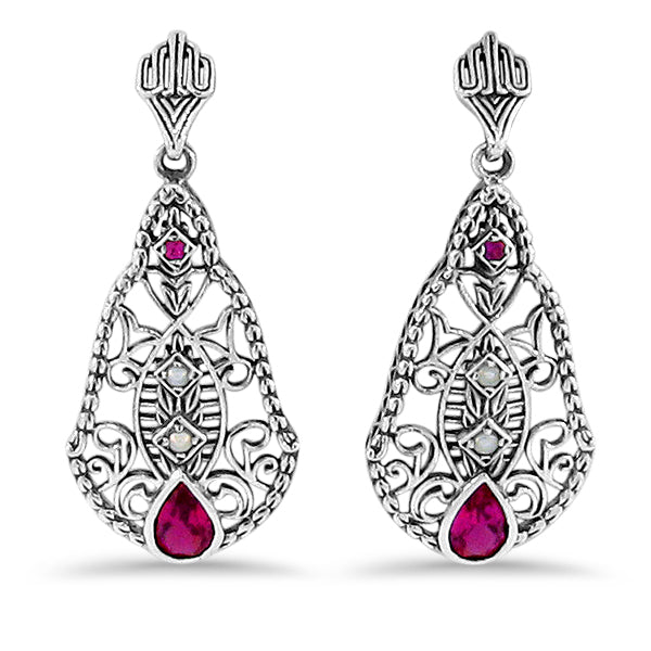 Ruby &  Pearl Antique Victorian Style 925 Sterling Silver Filigree Earrings #30213