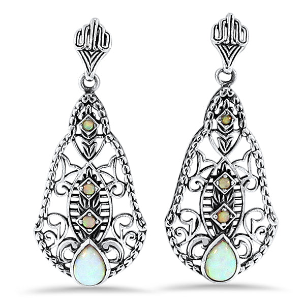 White Opal Antique Victorian Style 925 Sterling Silver Earrings #30218