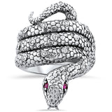 Genuine Ruby Antique Victorian Design .925 Sterling Silver Snake Ring, #30221