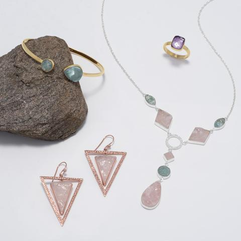 Sterling Silver Aquamarine and Rose Quartz Drop Necklace Item #: 34117