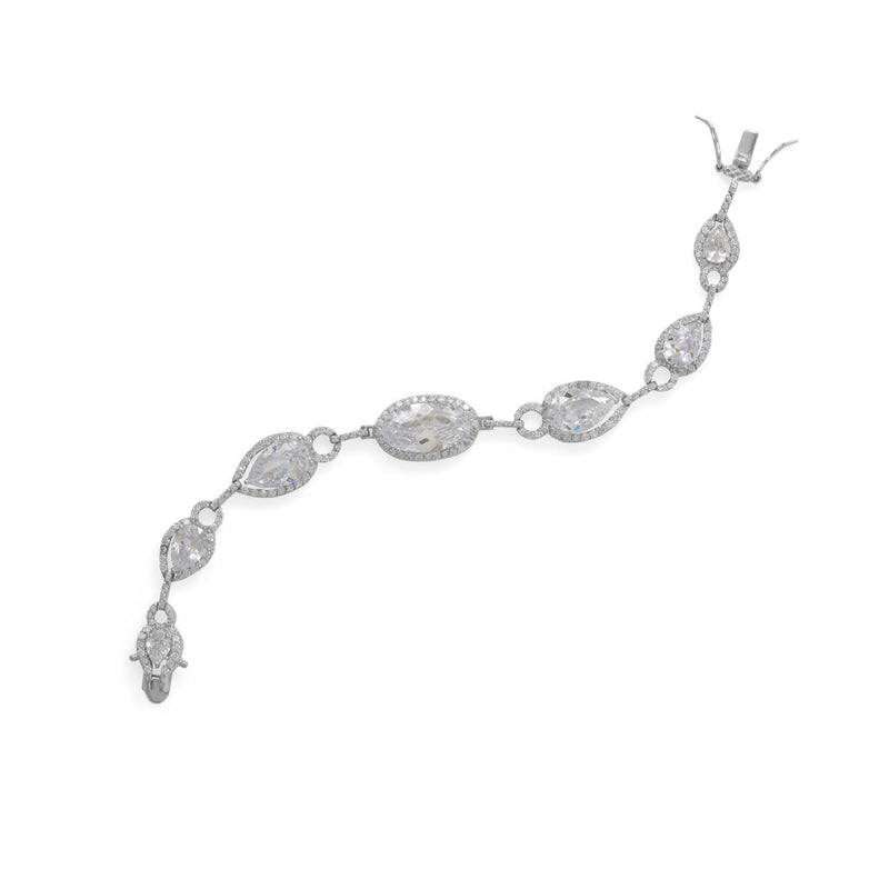 "8"" Rhodium Plated Pear and Oval CZ Bracelet"