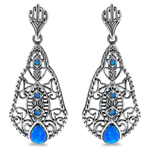 Antique Vintage Style Blue Opal 925 Sterling Silver Filigree Earrings #30255
