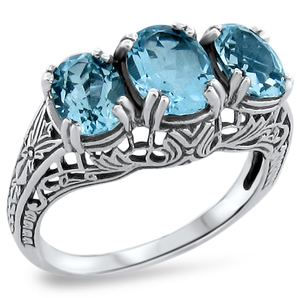 3.30 Carat T.W. Genuine Sky Blue Topaz Sterling Silver Art Deco Style 3-Stone Ring #30258