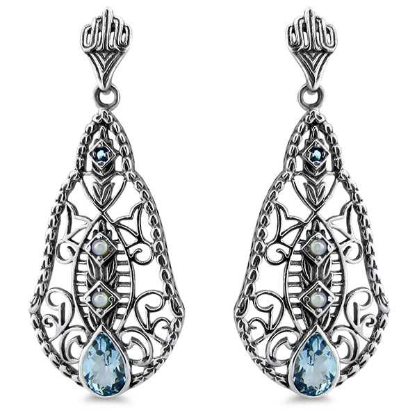 Genuine Sky Blue Topaz &  Seed Pearl Antique Style Sterling Silver Earrings #30260
