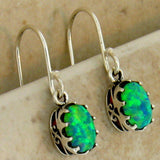 Antique Victorian Style Green Opal 925 Sterling Silver Earrings #30263
