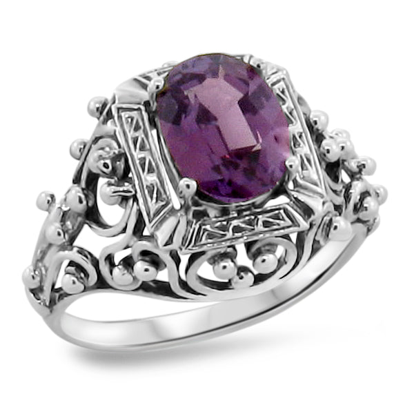Color Changing Sim Alexandrite Ring, Sterling Silver #30264