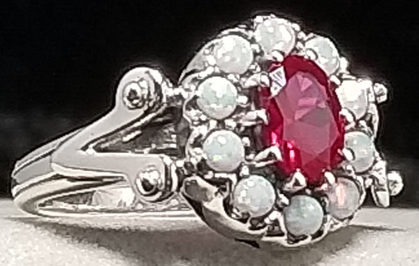 Red Ruby & Opal Antique Victorian Design .925 Sterling Silver Ring, #30205