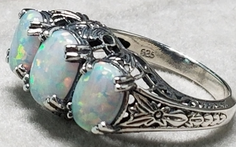 Three-Stone White Opal Ring, Sterling Silver #30214