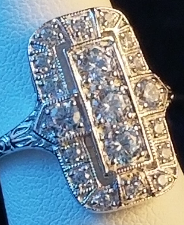 Sterling Silver 1.79 CTTW Antique Style Cubic Zirconia Wedding/Engagement, #31151