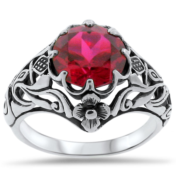 "Approx. 2.5 Carat Synthetic Ruby ""Scottish Thistle"" 925 Sterling Silver Ring #30321"