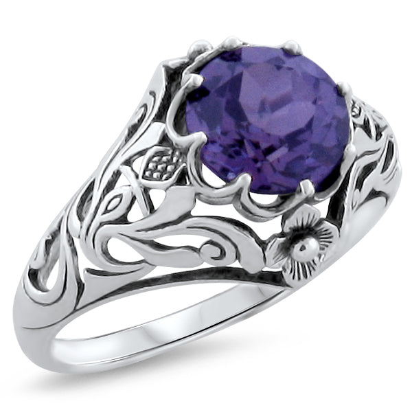 "Antique Art Nouveau  Alexandrite  Sterling Silver ""Scottish Thistle"" Ring #30326"