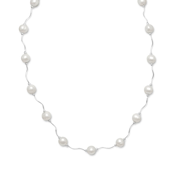 "17""+2"" Extension Wave Design Necklace with Cultured Freshwater Pearls"